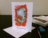 Valentine's Day Card BMO Heart Blank Card / Archival 4x6 inch watercolor print / nerd geek girl guy dork Adventure Time