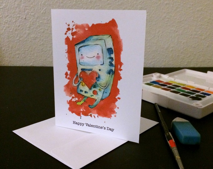 Valentine's Day Card BMO Heart Blank Card / Archival 4x6 inch watercolor print / nerd geek girl guy dork Adventure Time