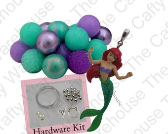 Mermaid Chunky Necklace Kit | 18 Pieces Chunky Bead Kit | Mermaid Glitter Pendant | Necklace Hardware Kit | DIY Chunky Necklace Kit