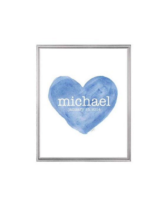 Personalized Birth Stats Print in Blue for Newborn Boy, 8x10