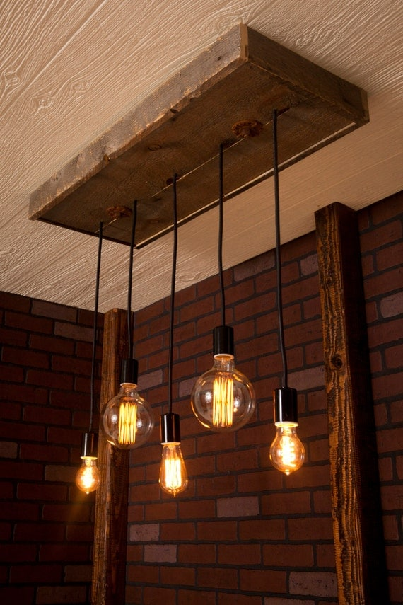 Industrial lighting industrial chandelier with reclaimed wood for Suspension luminaire original