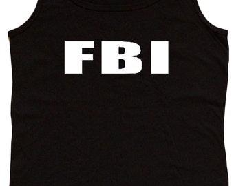 Ladies black tank top / FBI