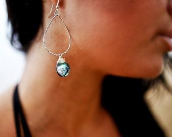 Abalone Teardrop Hoops, Seashell Earrings, Hawaii Shell Hoops, Beach Wedding, Hammered Gold Hoops, Blue Gold Wedding, Bridesmaid Gift