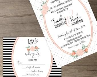 Floral Wedding Invitation Package • Custom • Modern Black White Coral Peach • Floral Polka Dot Stripes • printable