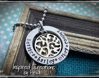 Family Tree Hand stamped Necklace