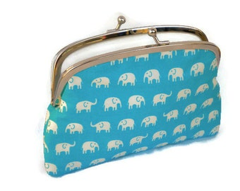 Aqua blue kiss lock coin purse with cute elephants - two section or 2 compartments in white cotton