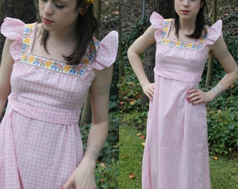 60s Hippie Pink Plaid Gingham Empire Waist Maxi Long Peasant Dress