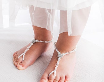 Flower girl barefoot sandals, Baby foot thongs, Christening shoes, Baby Shower Gift, Kids Barefoot Sandals, Baptism Sandals, Beach wedding