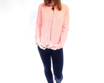 coral geometric knit patterned buttoned 80's layering cardigan sweater - small - medium