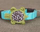 Turtle Dog Collar - Turquoise Swirl with Olive Green Turtle and Brown Dot Shell - Brown Hardware