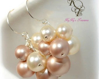 Pearl Bridal Earrings, Sterling Silver Earrings, Bridal Jewelry, Wedding Jewelry, Swarovski Pearls
