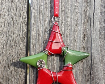 Star ornament - Red & Green