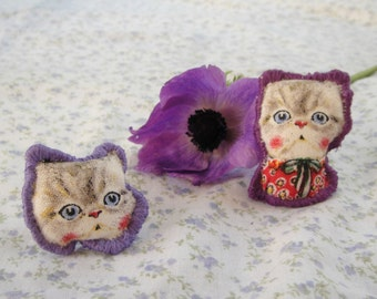 jewellery set, cat brooch, cat ring, cat jewellery, cat gifts, kawaii jewellry, for cat lovers, cute cat jewellery, purple jewellery