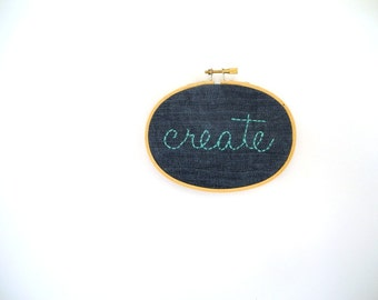 Create hoop, Denim embroidery ,room decor,jeans embroidery,blue green decoration,inspirational hoop, Oval Embroidery Hoop