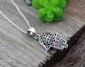 Sterling silver Hamsa Necklace, Yoga Necklace, Hamsa Necklace, Yoga Jewelry, Friend Gift Idea Trending Items, Most Popular Hamsa, 5167