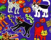 Ghoul Friends Mummy Cats -  Cat Fabric Out of Print Kitty Halloween by Cheri Strole FQ