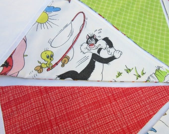 Reversible Bunting made with Vintage Retro Cartoon Fabric and Modern Print