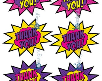 Thank You Stickers • Super Girl (GV1) •  INSTANT DOWNLOAD