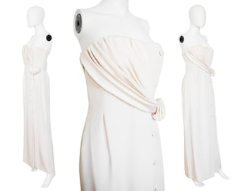 André Laug 1980s Vintage Strapless Evening Gown 100% Silk Evening Dress Size 4 XS