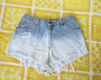 Vintage Levis Distressed Acid Wash Ombre Cut Offs Jean Shorts