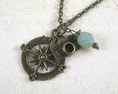 Bronze Compass Necklace - Charm Necklace - Bronze Camera - Traveler Necklace - Milky Sage Czech Glass Bead - Vintage Bronze Necklace