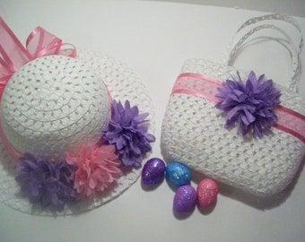 EASTER HAT, Toddler Easter Hat, Pink Easter Hat, Aqua Easter Hat, Tea Party Hat, Sun Hat,  Lavender Spring Hat, Toddler Spring Hat