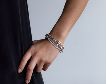 Multi Chain Silver Bracelet-Multichain Mixed Metals-Multistrand Chain Bracelet-Gift for Her