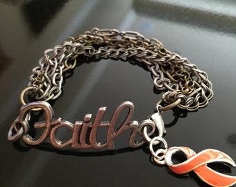 Faith - Orange Ribbon Bracelet - Multiple Sclerosis Awareness, Leukemia Kidney Cancer Survivor