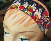 Wonder Woman Comic Headband - 100% Cotton - Blue & Red
