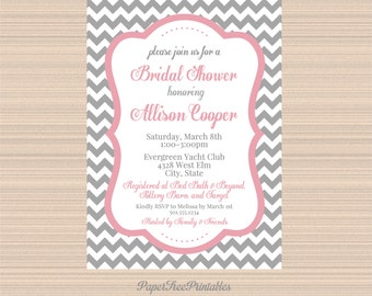 Digital Bridal Shower Invitation, Grey and Pink Chevron