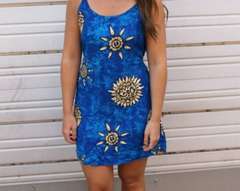 FESTIVAL SALE!! Blue 90s Grunge Sun Print Batik Tie-back Boho Festival Mini Dress