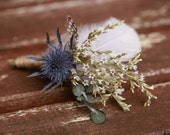 Mens Thistle and Feather Boutonniere/Buttonhole