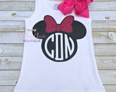 Minnie Mouse Tank Top - Girls Minnie Mouse tank - Monogram tank - Girls Disney Tank - Glitter Minnie Mouse - HTV applied not embroidered