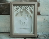 Cut Paper Shadowbox. Deer in the Woods. In Glittering Snow White and Winter Doe Brown