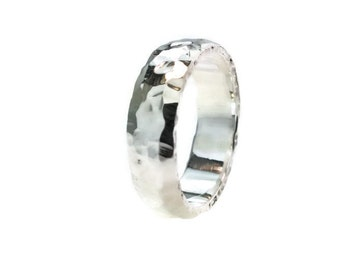D Shape Polish Hammered Wedding Band 6mm Silver 980 Purity from Recycled Silver Jewels.His Hers,Set, US Size