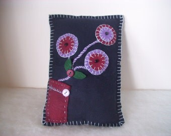 Handmade Folk Art Shelf Pillow, Navy Blue Wool, Purple, Burgundy, Green, Home and Living, Home Decor,