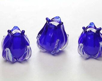 3 Flower Lampwork Cobalt Blue Bud, Unique Handmade Artisan Lampwork Flower Bead, floral sra