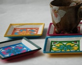 Square Hanji Paper Coasters Traditional Flower Design Handmade Zen Decor Hostess Gift Asian Decor (Set of 4)