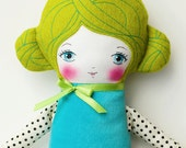 Handmade Cloth Doll with Green Hair, Art Doll, Rag Doll