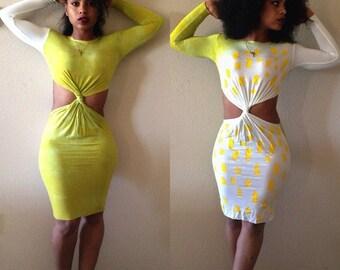 Reversible Lime Tie-Dye Cutout Contour Dress w/ Yellow Paint