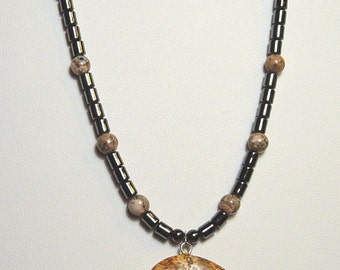 Bear Necklace with Picture Jasper Bear