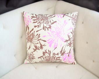 Cream Pink Brown Nature Print 18x18 Floral Pillow Cover