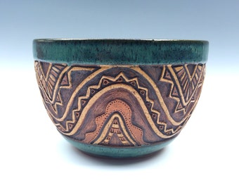 Pottery Hand Carved Serving or Mixing Bowl - Aztec Design - Wavy - Triangles - Textured & Rustic - Blue Green, Brown, Tan - Unique, Original