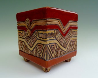 Aztec Lidded Slab Pottery Box ~ Hand Built ~ Hand Carved ~ Sienna, Red, Brown, Tan ~ Buttons ~ Earthy ~ Geometric, Triangles ~ Treasure Box
