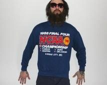 RARE 1988 NCAA Final Four Sweatshirt. Retro Blue Crewneck March Madness Basketball Collectible. Duke, Kansas, Arizona, Oklahoma