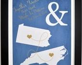 Two States Custom Wedding Gift: Art Print Deployment Gift for Husband Overseas Long Distance Boyfriend Engagement Gift Idea