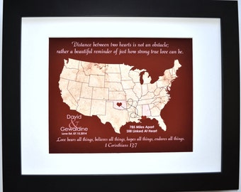 Long distance gift, boyfriend gift, valentines day gift deployment gift personalized girlfriend going away gift two states love map present