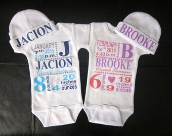 girl or boy personalized birth announcement bodysuit & hat gift novelty cute