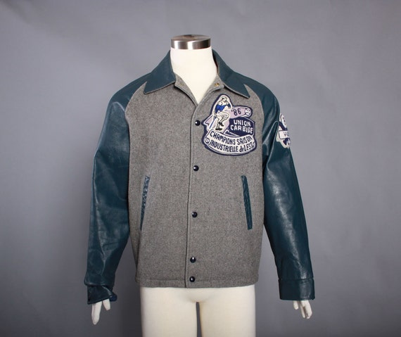 80s French Canadian LETTERMAN JACKET / 1980s Wool U0026 Leather