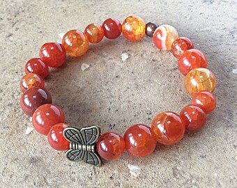 Orange butterfly bracelet, Fire Agate, semiprecious beads, stacking, stretch, gemstone jewelry